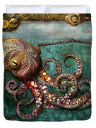 Steampunk - The Tale Of The Kraken Duvet Cover by Mike Savad