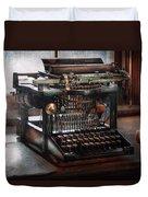Steampunk - Typewriter - A Really Old Typewriter  Duvet Cover by Mike Savad