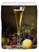 Still Life with a glass of champagne Duvet Cover by Johann Wilhelm Preyer
