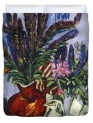 Still Life with a Vase of Flowers Duvet Cover by Ernst Ludwig Kirchner