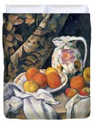 Still life with drapery Duvet Cover by Paul Cezanne