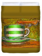 Still life with green stripes and saddle  Duvet Cover by Mark Howard Jones