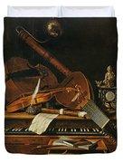 Still Life With Musical Instruments Duvet Cover by Pieter Gerritsz van Roestraten