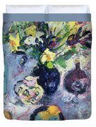 Still Life With Turquoise Bottle Duvet Cover by Sylvia Paul