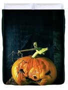Stingy Jack - Scary Halloween Pumpkin Duvet Cover by Edward Fielding