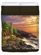 Stoney Cove Lighthouse Duvet Cover by Dominic Davison