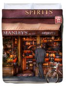 Store - Wine - NY - Chelsea - Wines and Spirits Est 1934  Duvet Cover by Mike Savad