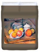 Straw Covered Vase Sugar Bowl And Apples Duvet Cover by Paul Cezanne