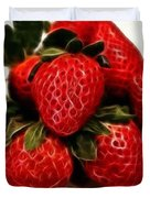Strawberries Expressive Brushstrokes Duvet Cover by Barbara Griffin