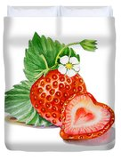 Strawberry Heart Duvet Cover by Irina Sztukowski