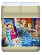 Street Kiss By Night  Duvet Cover by Ramona Matei