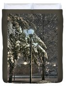 Street Lamp In The Snow Duvet Cover by Benanne Stiens