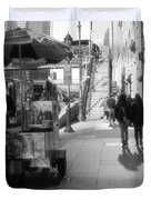 Street Vendor And Stairs In New York City Duvet Cover by Dan Sproul