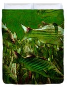 Striped Bass - Painterly V2 - Square Duvet Cover by Wingsdomain Art and Photography