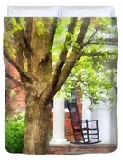 Suburbs - Rocking Chair On Porch Duvet Cover by Susan Savad