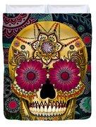 Sugar Skull Paisley Garden - Copyrighted Duvet Cover by Christopher Beikmann