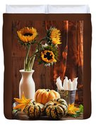 Sunflower And Gourds Still Life Duvet Cover by Amanda Elwell