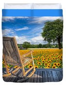 Sunflower Farm Duvet Cover by Debra and Dave Vanderlaan