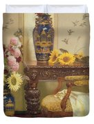Sunflowers And Hollyhocks Duvet Cover by Kate Hayllar