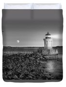 Sunrise At Bug Light Bw Duvet Cover by Susan Candelario