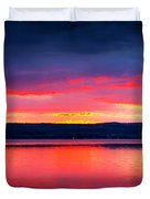 Sunrise In Cayuga Lake Ithaca New York Panoramic Photography Duvet Cover by Paul Ge