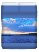 Sunrise On Cayuga Lake Ithaca New York Panoramic Photography Duvet Cover by Paul Ge