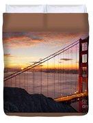 Sunrise Over The Golden Gate Bridge Duvet Cover by Brian Jannsen