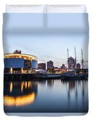 Sunset At The Dock Duvet Cover by CJ Schmit
