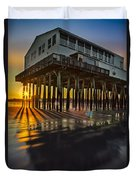 Sunset At The Pier Duvet Cover by Susan Candelario
