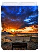 sunset at the port of Tel Aviv Duvet Cover by Ron Shoshani
