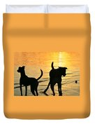 Sunset Dogs  Duvet Cover by Laura Fasulo