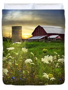 Sunset Lace Pastures Duvet Cover by Debra and Dave Vanderlaan