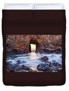 Sunset On Arch Rock In Pfeiffer Beach Big Sur California. Duvet Cover by Jamie Pham