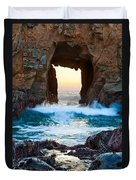 Sunset On Arch Rock In Pfeiffer Beach Big Sur. Duvet Cover by Jamie Pham