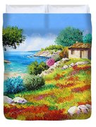 Sunset On The Beach Duvet Cover by Jean-Marc Janiaczyk