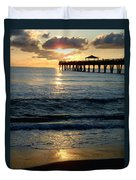 Sunset Pier Duvet Cover by Carey Chen
