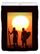 Sunset Surfers Duvet Cover by Sean Davey