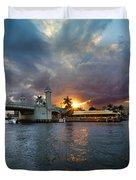 Sunset Waterway Panorama Duvet Cover by Debra and Dave Vanderlaan