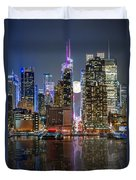 Super Moon At 42nd Street  Duvet Cover by Eduard Moldoveanu