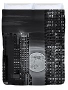 Super Moon Rises Over The Big Apple Bw Duvet Cover by Susan Candelario