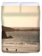 Surfers On Beach 03 Duvet Cover by Pixel Chimp