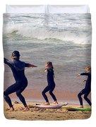 Surfing Lesson Duvet Cover by Stuart Litoff