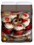 Sweet - Cupcake - Red Velvet Cupcakes  Duvet Cover by Mike Savad