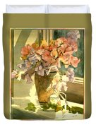 Sweetpea On The Windowsill Duvet Cover by Julia Rowntree