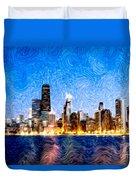 Swirly Chicago At Night Duvet Cover by Paul Velgos
