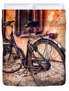 Swiss Bicycle Duvet Cover by Debra and Dave Vanderlaan