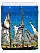 Tall Ship paint  Duvet Cover by Steve Harrington