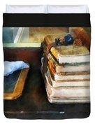 Teacher - Old School Books And Slate Duvet Cover by Susan Savad