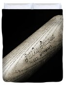 Ted Williams Little League Baseball Bat BW Duvet Cover by Andee Design