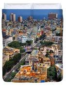 Tel Aviv Eagle Eye View Duvet Cover by Ron Shoshani